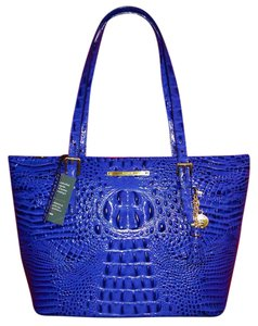 Brahmin Asher Melbourne Leather Tassels Lined Tote in Turkish Blue