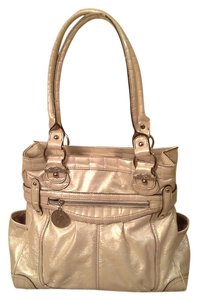 Genna De Rossi White Beige Off White Shimmery Metallic Large Shoulder Bag
