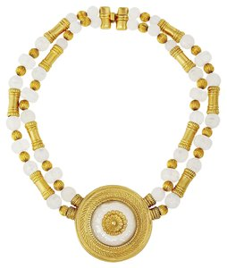 Ben-Amun White Bead and Gold Pendant Necklace