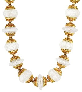 Ben-Amun White Bead and Gold Stations Necklace