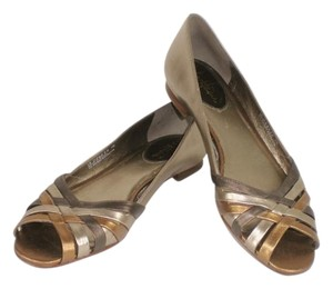 Cole Haan Leather Bronze Gold Metallic Brown Flats