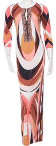 Emilio Pucci Maxi Longsleeve V-neck Dress