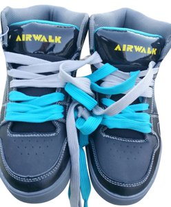 Airwalk Leather Cool Sneakers Statement Walking Sporty Fashion Sneakers Hi Tops Black Teal Athletic