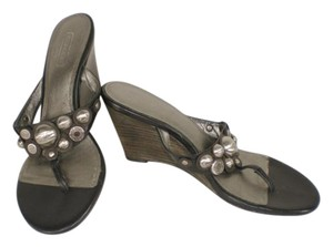Coach Harllow Silver Logo Signature Black Wedges