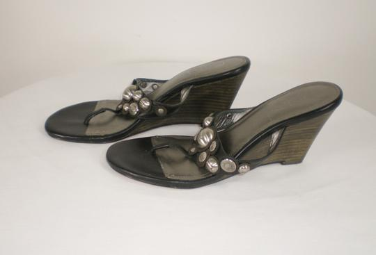 Coach Harllow Silver Logo Signature Summer Black Wedges