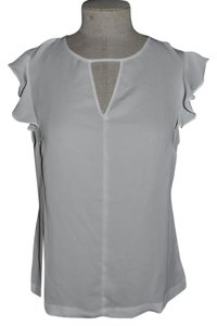 I 'Heart' Ronson Cap Sleeve Ruffle Cut-out Top White