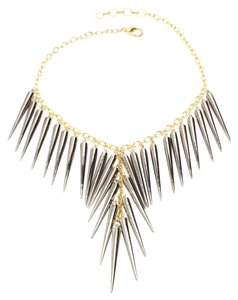 Amrita Singh Gorgeous Punk Chick Long Gunmetal Spikes Necklace On Gold