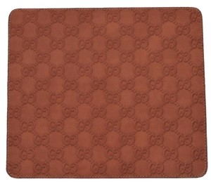 Gucci NEW Gucci 197216 Burnt Orange GG Guccissima Leather Mouse Pad