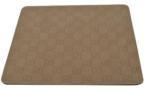 Gucci NEW Gucci 197216 Khaki Brown GG Guccissima Leather Mouse Pad