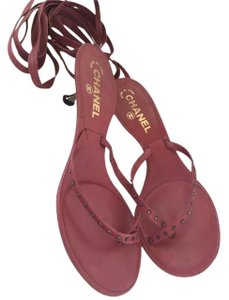 Chanel Studded Leather Ankle Wrao Kitten Heels Dusty Rose Pink Mauve Sandals