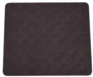 Gucci NEW Gucci 197216 Dark Brown GG Guccissima Leather Mouse Pad