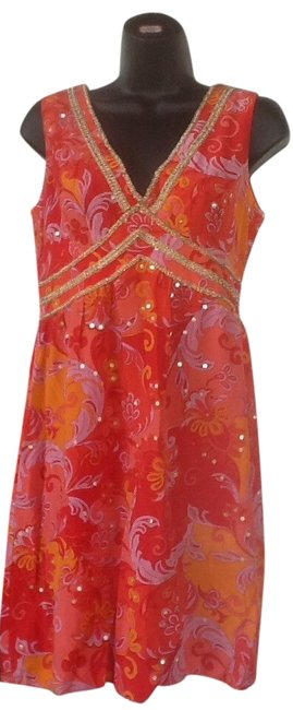 Muse Paisley Silk V-neck Sparkle Sleeveless Dress