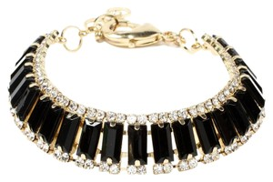 Amrita Singh Amrita Singh NIP Gold Bracelet Black Stones Clear Crystals Adjustable