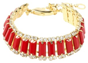 Amrita Singh Amrita Singh NIP Gold Bracelet Red Stones Clear Crystals Adjustable