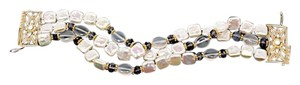 JADED Fresh Water Pearl Bracelet w/Beautiful Gold Clasp + Iolite Beads - 7.25