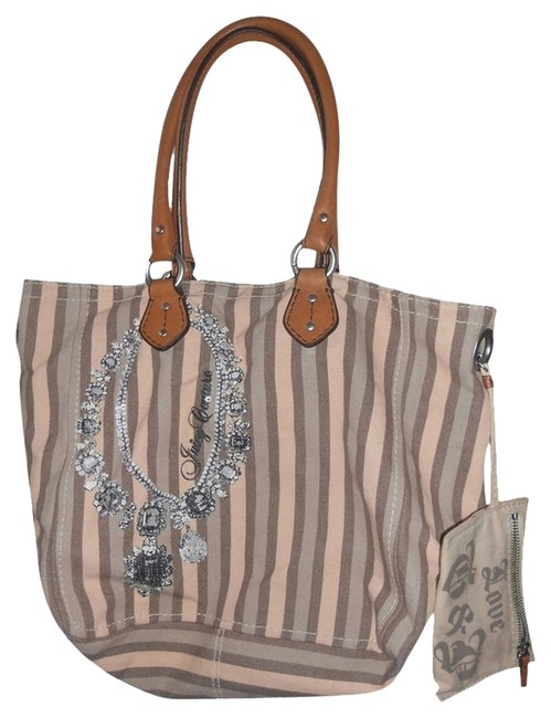 Item - Multi Colored Brown/Pink Canvas Tote