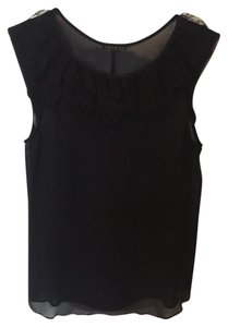 Theory Silk Navy And Black Lace Georgette Top Uniform