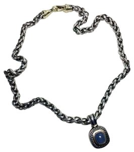 David Yurman .925 Sterling Silver and 14k Gold Chalcedony Enhancer Necklace