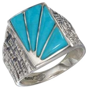 Unknown Sterling Silver Men's Turquoise Sunburst Ring