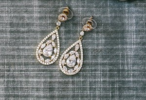 Stunning Gold And Faux Diamond Earrings