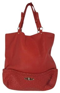 Elliott Lucca Pebbled Leather Woven Tote in Orange