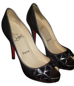 Christian Louboutin Peep Toe Jeweled Gunmetal Pumps
