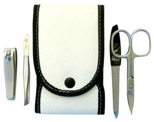 Premax Manicure Set, 4 pc Black And White Line- By Premax, Made in Italy