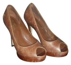 Cole Haan Peep Toe Brown Pumps