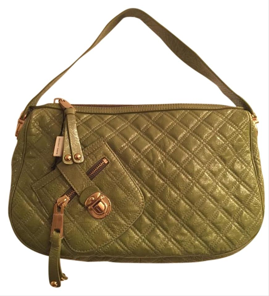 64aca7ffda41 Marc Jacobs Ursula Quilted Handbag Purse Green Patent Leather Hobo ...