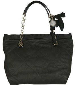Lanvin Leather Quited Ladylike Gold Tote in Black