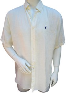 Ralph Lauren Linen Mens Summer Button Down Shirt off-white
