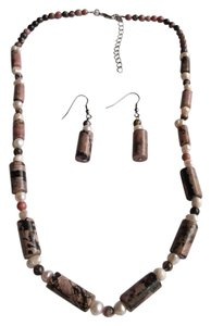 Zaire Rhodonite with Freshwater Pearl Accents Earrings and Necklace Set free shipping