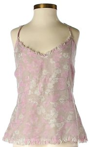Joie Silk Floral Cut-out Top Pink
