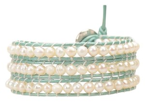 Victoria Emerson Victoria Emerson Freshwater Pearls on Mint Green Wrap Bracelet