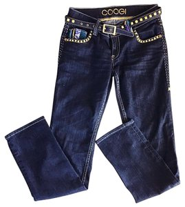 Coogi Embroidered Size 7 Size 8 Straight Leg Jeans-Dark Rinse