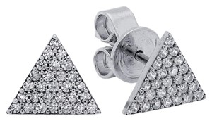 CRISLU CRISLU Geometric Triangle .50cttw Micro Pave Stud Pierced Earrings 925 Sterling Silver plated in Pure Platinum