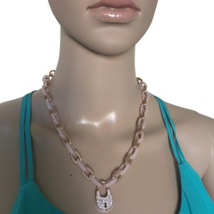 Michael Kors NWT Michael Kors Rose Gold-Tone & Blush Chain Link Padlock Necklace MKJ4896791