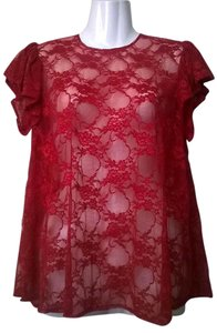 Lisa Nieves Lace Stretchy Flowy Casual Top red