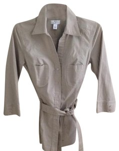 Ann Taylor LOFT Button Down Shirt Khaki