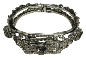 Rhodium Plated Art Deco Black Diamond Octagon Articulated Bracelet