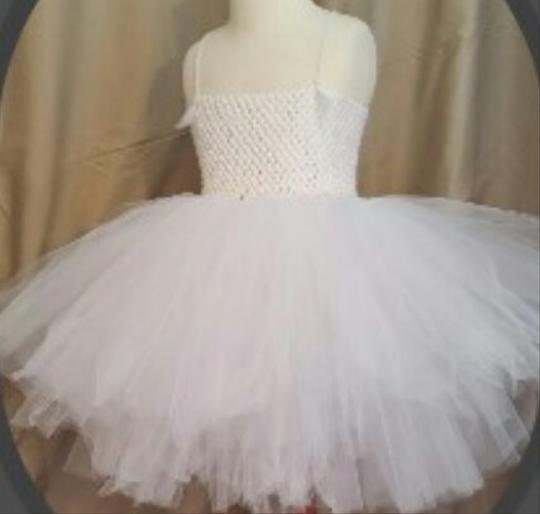 White Tulle; Knit Tutu Flower Girl Traditional Bridesmaid/Mob Dress Size OS (one size)