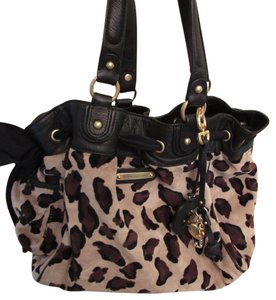 Juicy Couture Velour Leather Cheetah Shoulder Bag