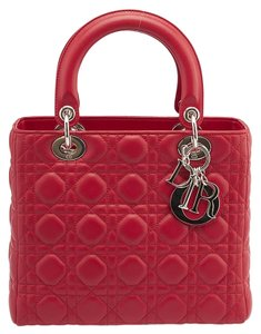 Dior Lady Cannage Leather Tote in Red