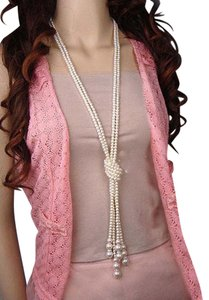 Pearl and rhinestone necklace 2Pc long layered Pearl sweater Knot Knotted necklace