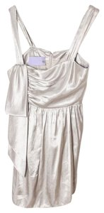 Vera Wang Lavender Label Metallic Cocktail Top Silver