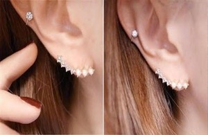 Other Silver pearls and rhinestones Ear climbers, ear crawlers, ear pin, ear sweep earrings, 2016 jewelry trend