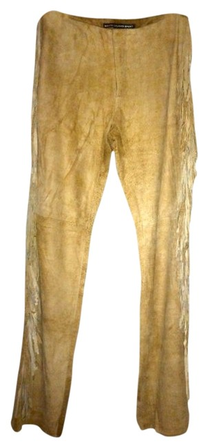 Ralph Lauren Leather Fringe Hem Boot Cut Pants Tan Zion