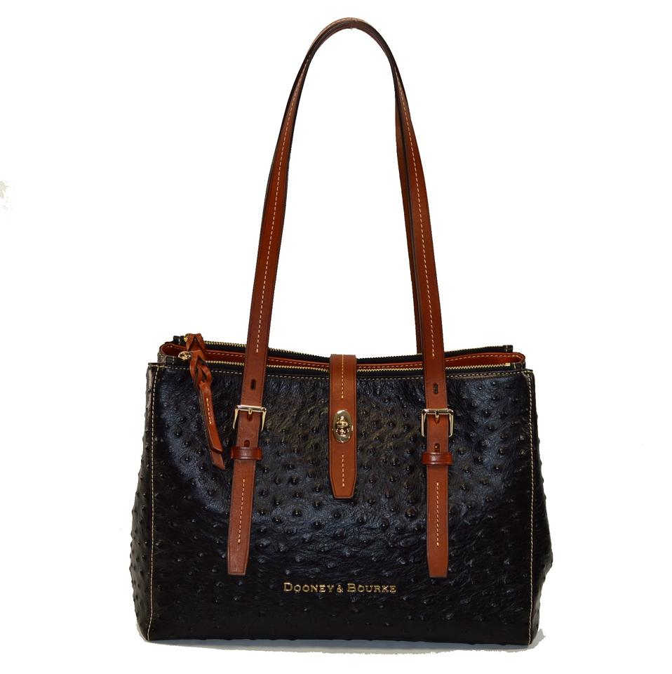 9c52c6ebc59 Dooney   Bourke Miller Shopper Ostrich Black Leather Shoulder Bag ...