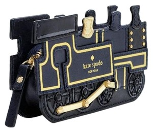 Kate Spade Train All Aboard Black Navy Clutch