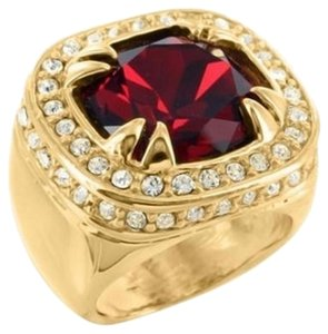 Other 18k Gold Tone Ring Mens Burmese Red Emerald Cut Birdman Rapper Band